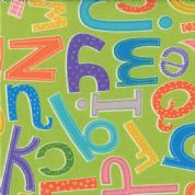 Moda - ABC Menagerie - 3083 - Alphabet on Green, Multi Colour - 39522-15 - Cotton Fabric